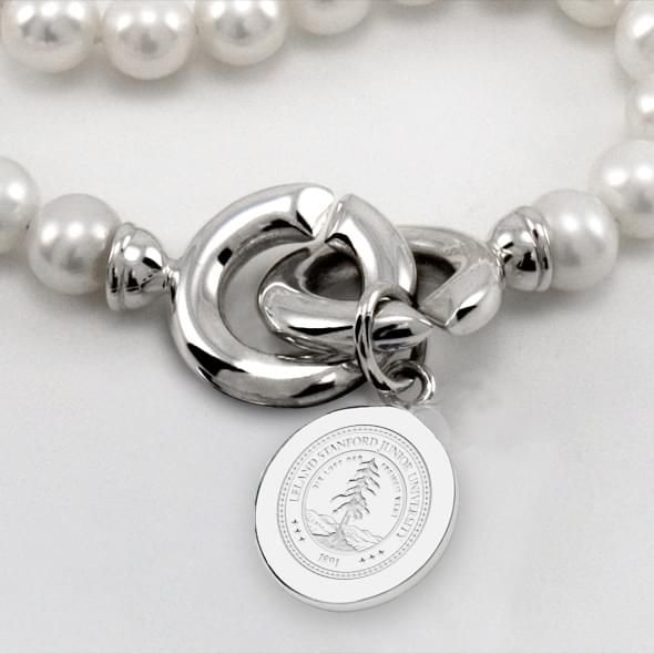 Stanford Pearl Necklace with Sterling Silver Charm - Image 2