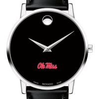 University of Mississippi Men's Movado Museum with Leather Strap