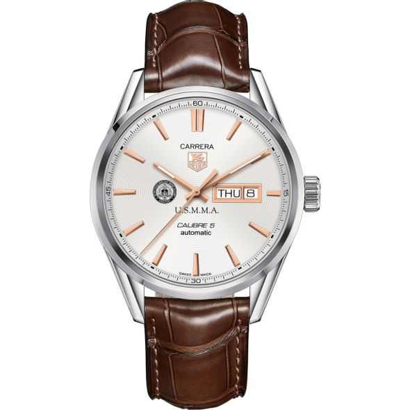 US Merchant Marine Academy Men's TAG Heuer Day/Date Carrera with Silver Dial & Strap - Image 2