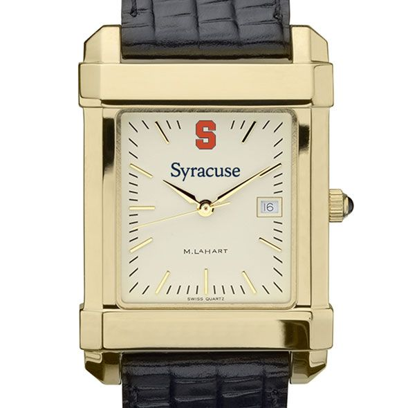 Syracuse University Men's Gold Quad with Leather Strap