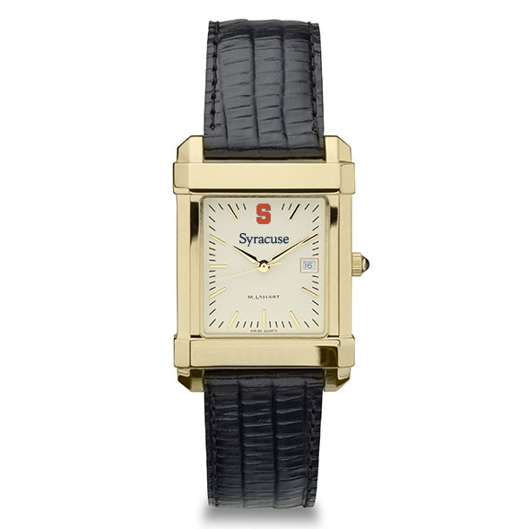 Syracuse University Men's Gold Quad with Leather Strap - Image 2