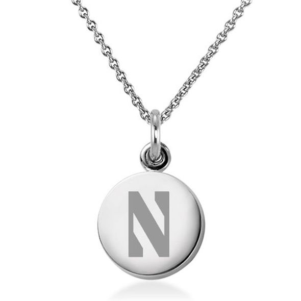Northwestern University Necklace with Charm in Sterling Silver