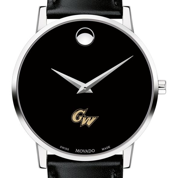 George Washington University Men's Movado Museum with Leather Strap