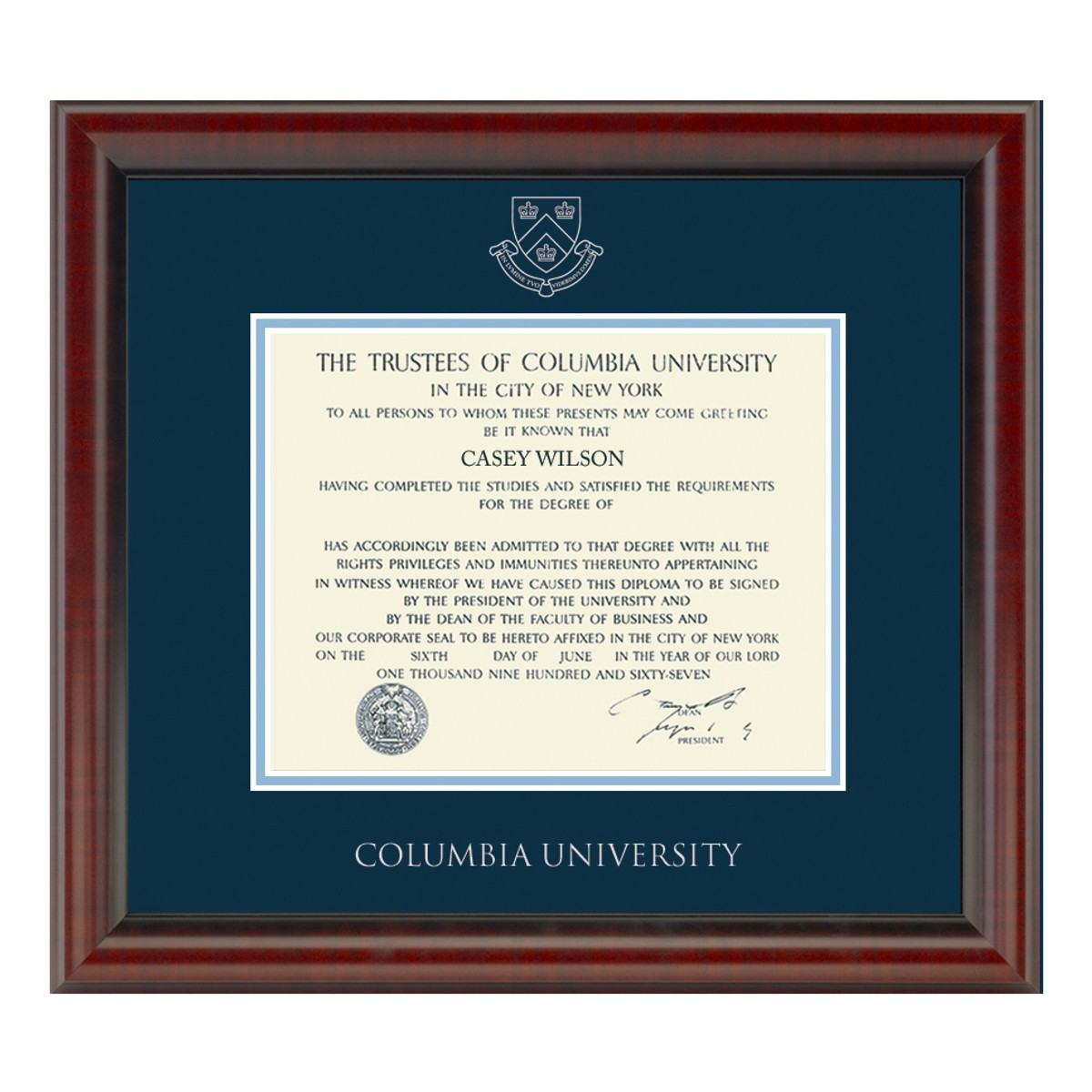 Official Columbia University Diploma Frame The Fidelitas