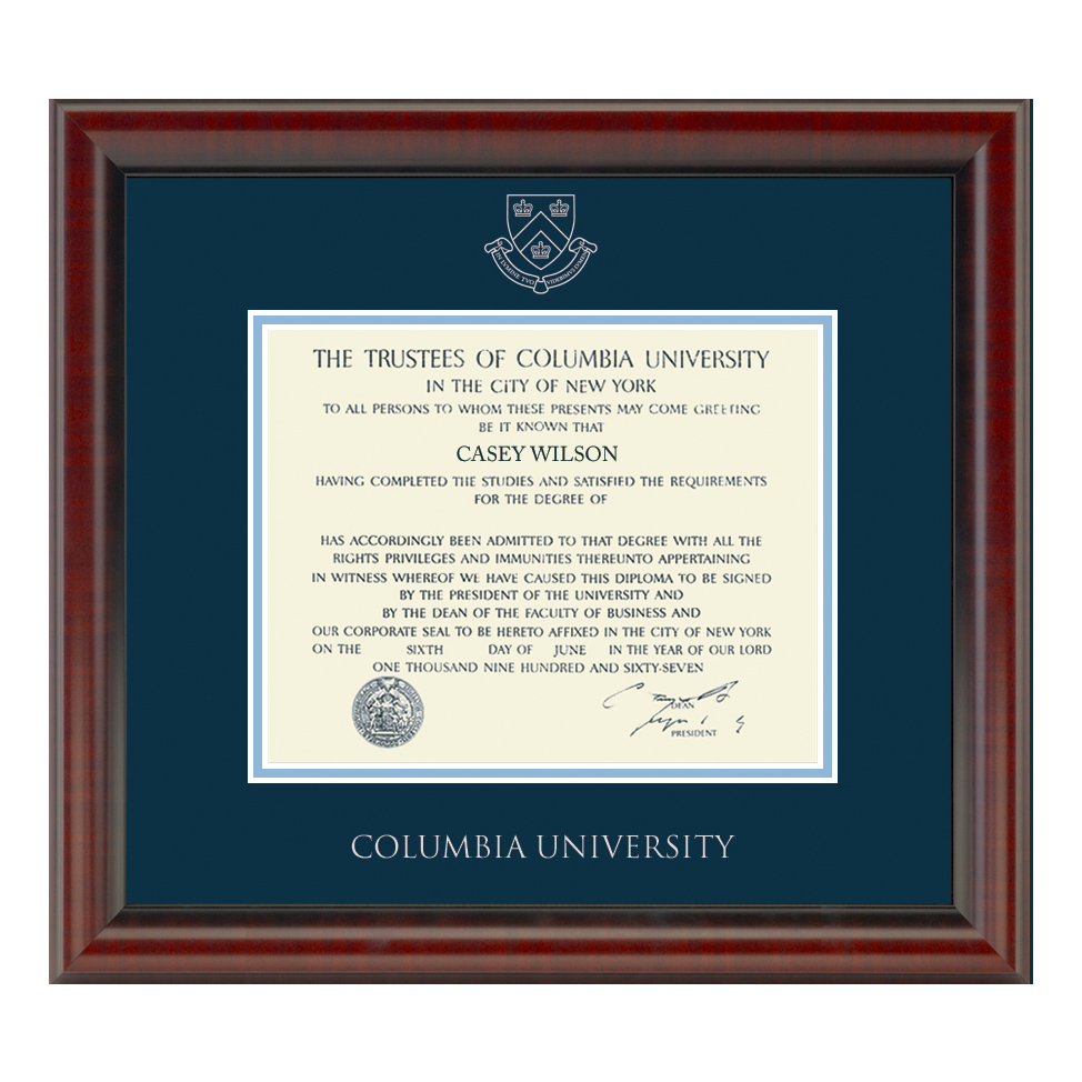 Official Columbia University Diploma Frame, the Fidelitas ...