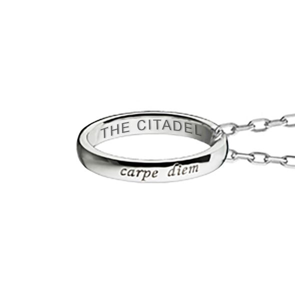 "Citadel Monica Rich Kosann ""Carpe Diem"" Poesy Ring Necklace in Silver - Image 3"