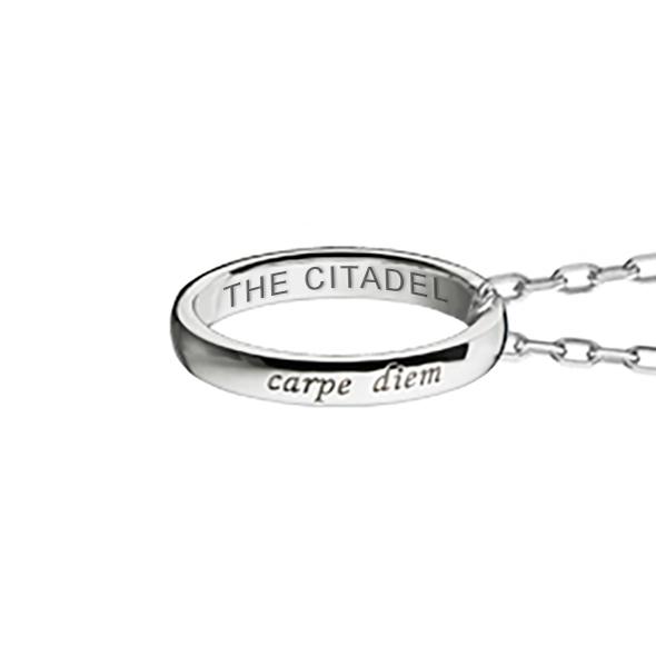 "Citadel Monica Rich Kosann ""Carpe Diem"" Poesy Ring Necklace in Silver - Image 3"
