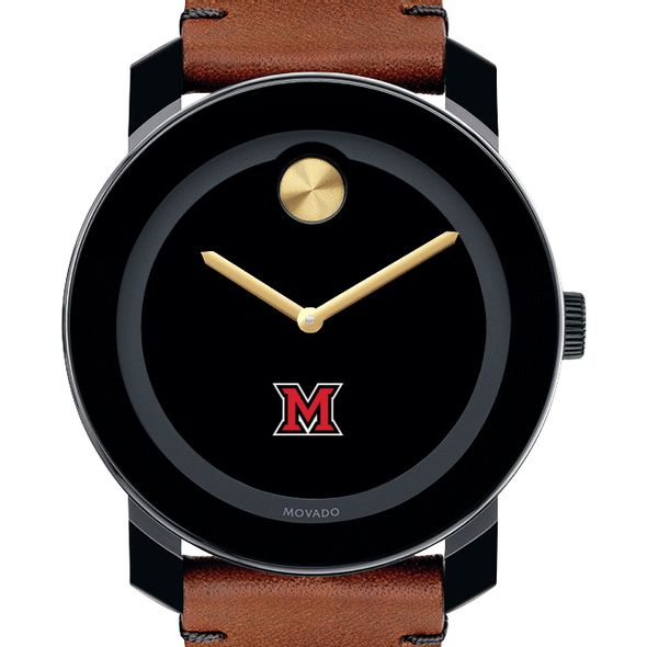 Miami University Men's Movado BOLD with Brown Leather Strap