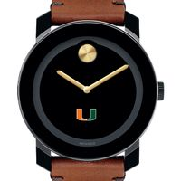 University of Miami Men's Movado BOLD with Brown Leather Strap