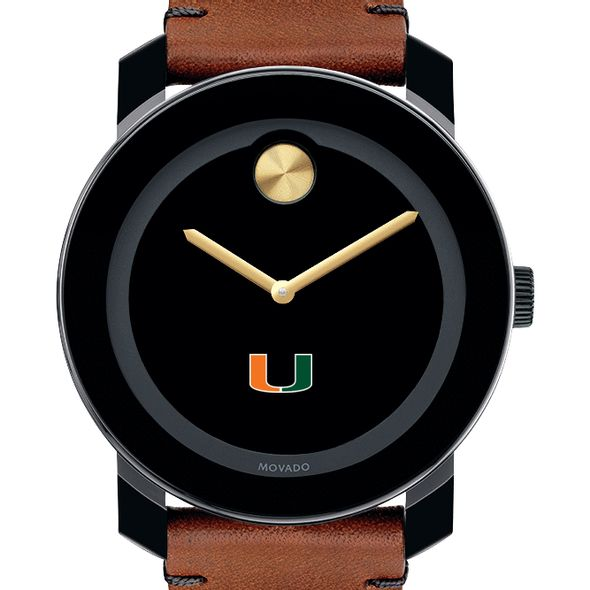 University of Miami Men's Movado BOLD with Brown Leather Strap - Image 1