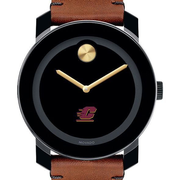 Central Michigan Men's Movado BOLD with Brown Leather Strap