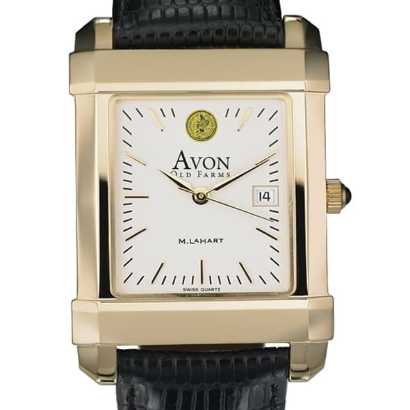 Avon Old Farms Men's Gold Quad Watch with Leather Strap - Image 1