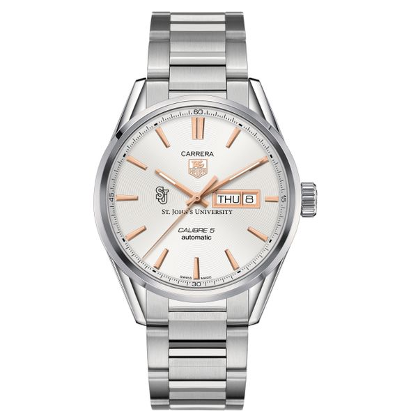 St. John's University Men's TAG Heuer Day/Date Carrera with Silver Dial & Bracelet - Image 2