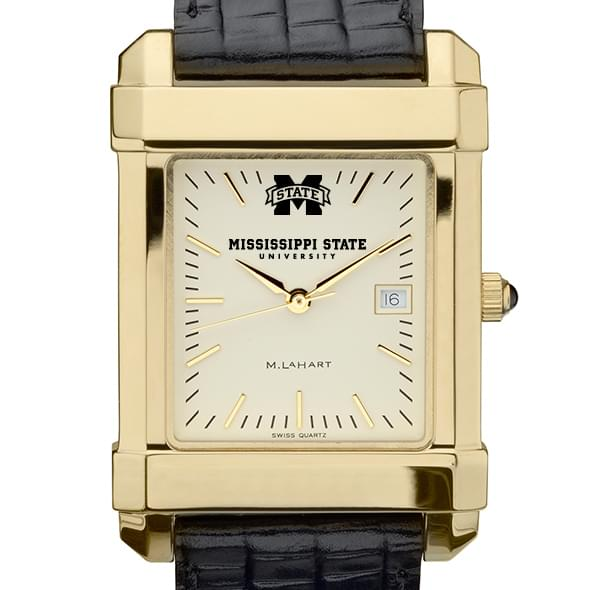 Mississippi State Men's Gold Quad with Leather Strap