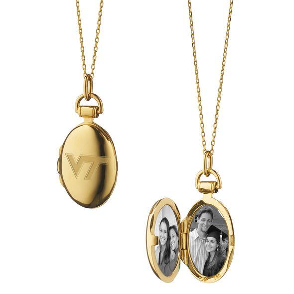 Virginia Tech Monica Rich Kosann Petite Locket in Gold - Image 1