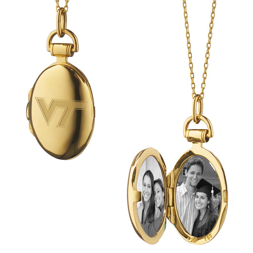 Virginia Tech Monica Rich Kosann Petite Locket in Gold - Image 2