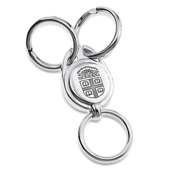 Brown Sterling Silver Valet Key Ring