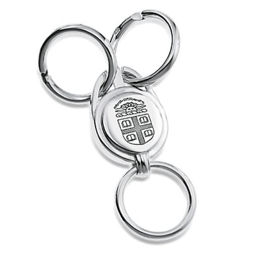 Brown Sterling Silver Valet Key Ring