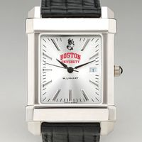Boston University Men's Collegiate Watch with Leather Strap