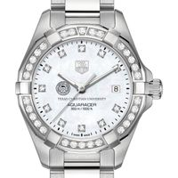 TCU Women's TAG Heuer Steel Aquaracer with MOP Diamond Dial & Diamond Bezel
