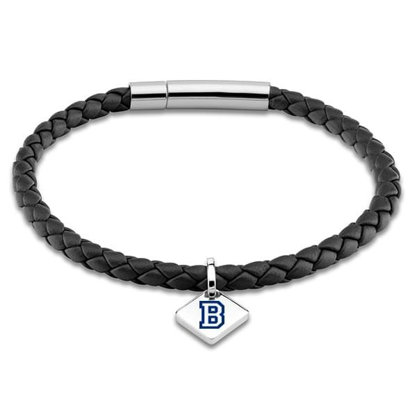 Bucknell Leather Bracelet with Sterling Silver Tag - Black - Image 1