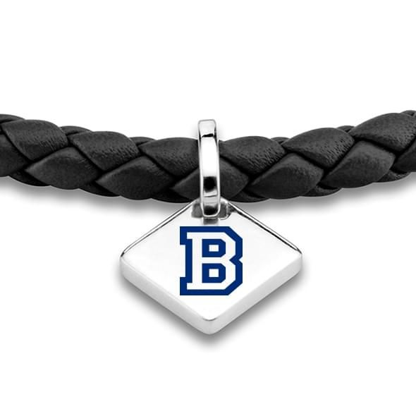 Bucknell Leather Bracelet with Sterling Silver Tag - Black - Image 2