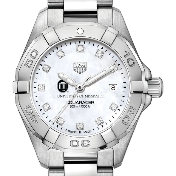 University of Mississippi W's TAG Heuer Steel Aquaracer w MOP Dia Dial