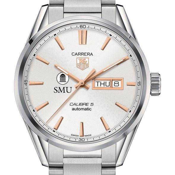 Southern Methodist University Men's TAG Heuer Day/Date Carrera with Silver Dial & Bracelet