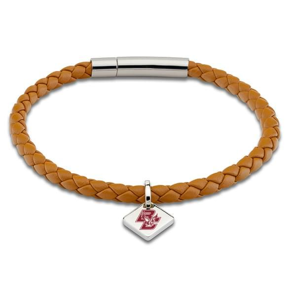 Boston College Leather Bracelet with Sterling Silver Tag - Saddle