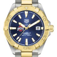 Ohio State Men's TAG Heuer Automatic Two-Tone Aquaracer with Blue Dial