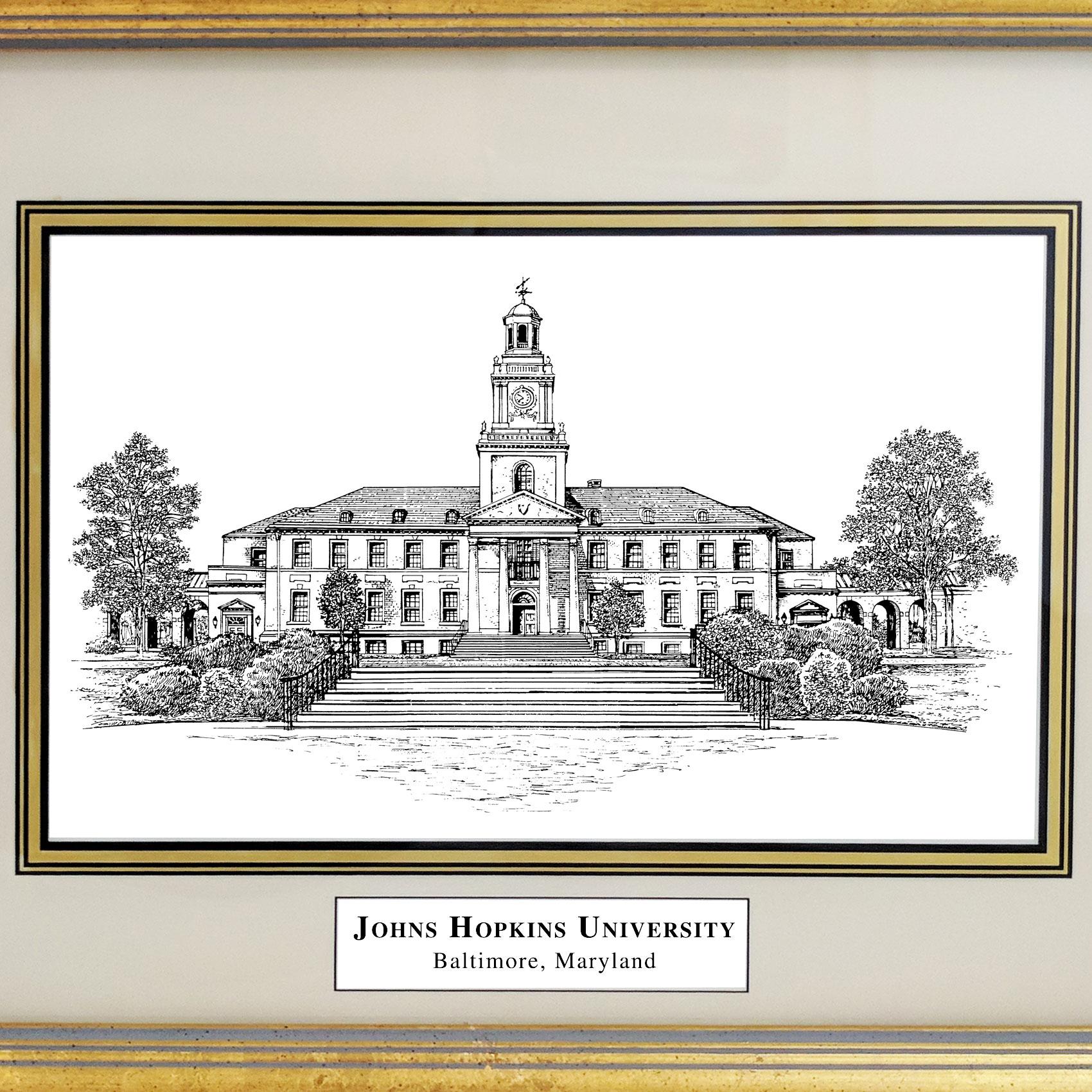 Framed Pen and Ink Johns Hopkins University Print - Image 2