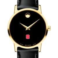 North Carolina State Women's Movado Gold Museum Classic Leather