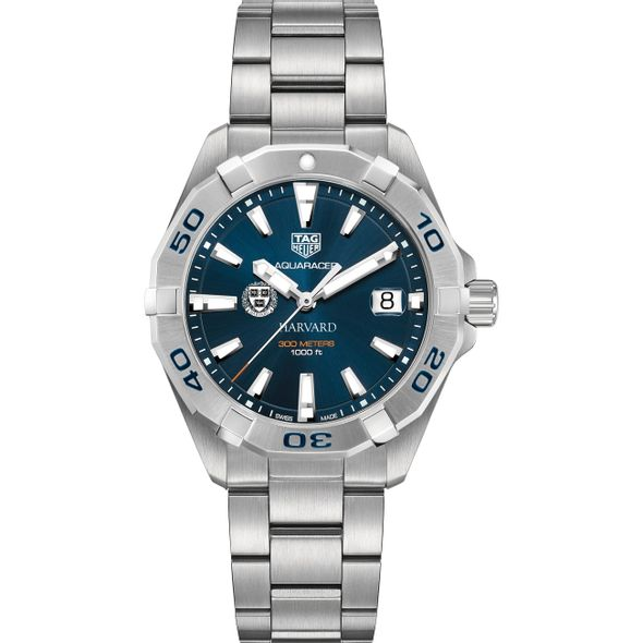 Harvard University Men's TAG Heuer Steel Aquaracer with Blue Dial - Image 2
