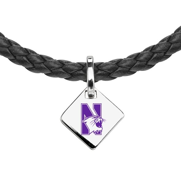 Northwestern Leather Necklace with Sterling Silver Tag - Image 2