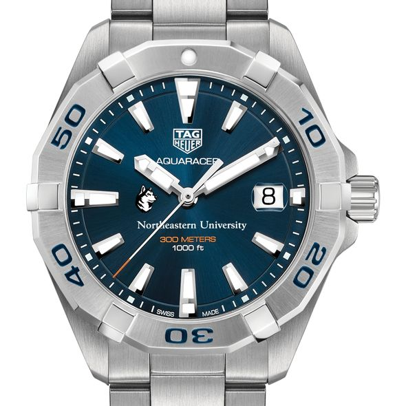 Northeastern Men's TAG Heuer Steel Aquaracer with Blue Dial - Image 1