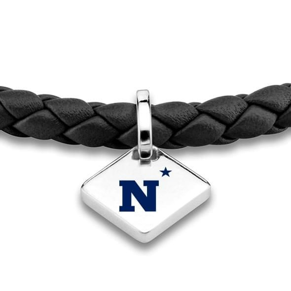 USNA Leather Bracelet with Sterling Silver Tag - Black - Image 2