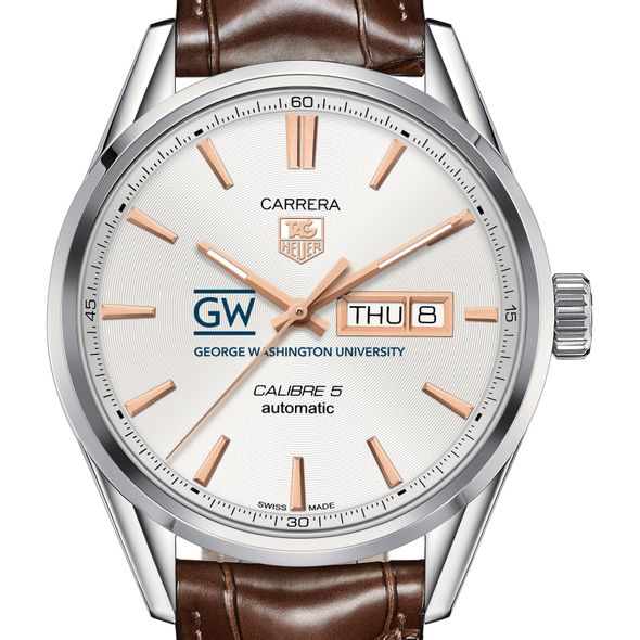 George Washington University Men's TAG Heuer Day/Date Carrera with Silver Dial & Strap