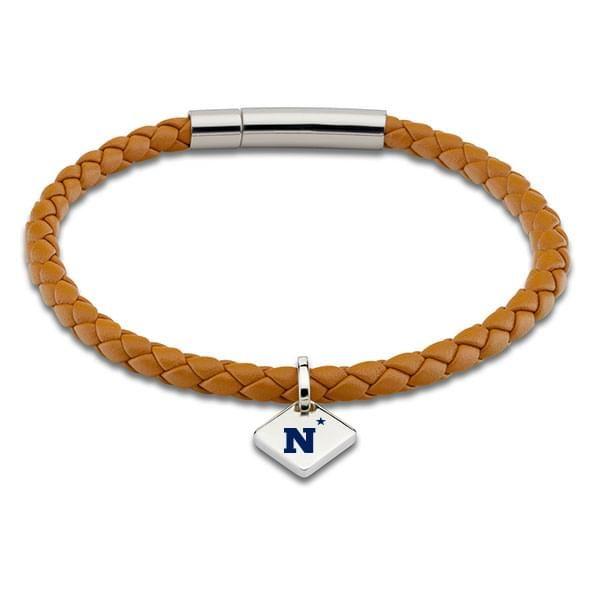 USNA Leather Bracelet with Sterling Silver Tag - Saddle