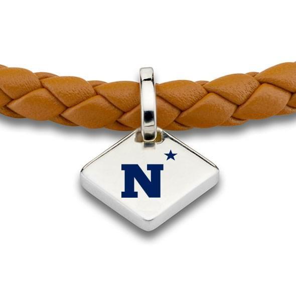 USNA Leather Bracelet with Sterling Silver Tag - Saddle - Image 2