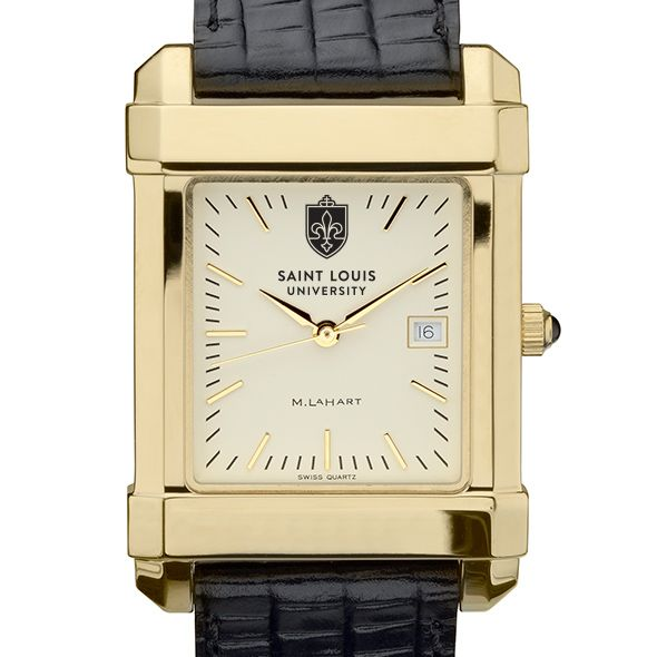 Saint Louis University Men's Gold Quad with Leather Strap
