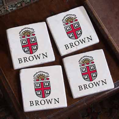 Brown Logos Marble Coasters - Image 1