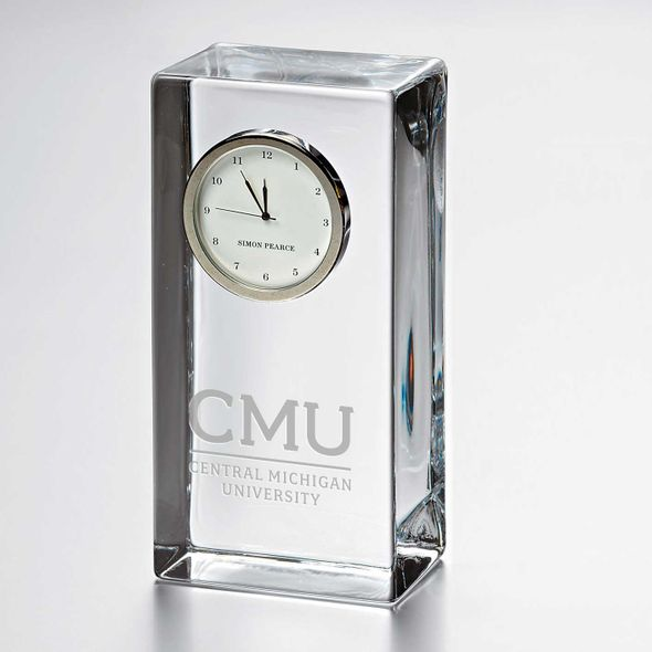 Central Michigan Tall Glass Desk Clock by Simon Pearce