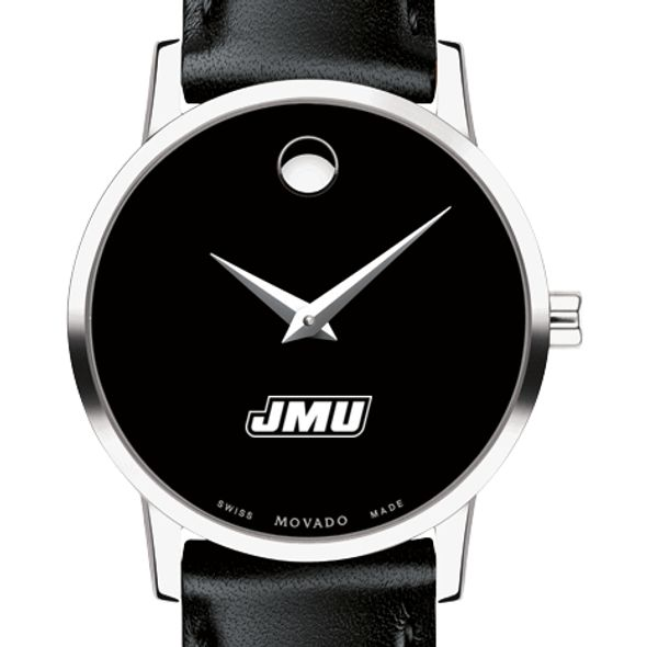 James Madison University Women's Movado Museum with Leather Strap - Image 1