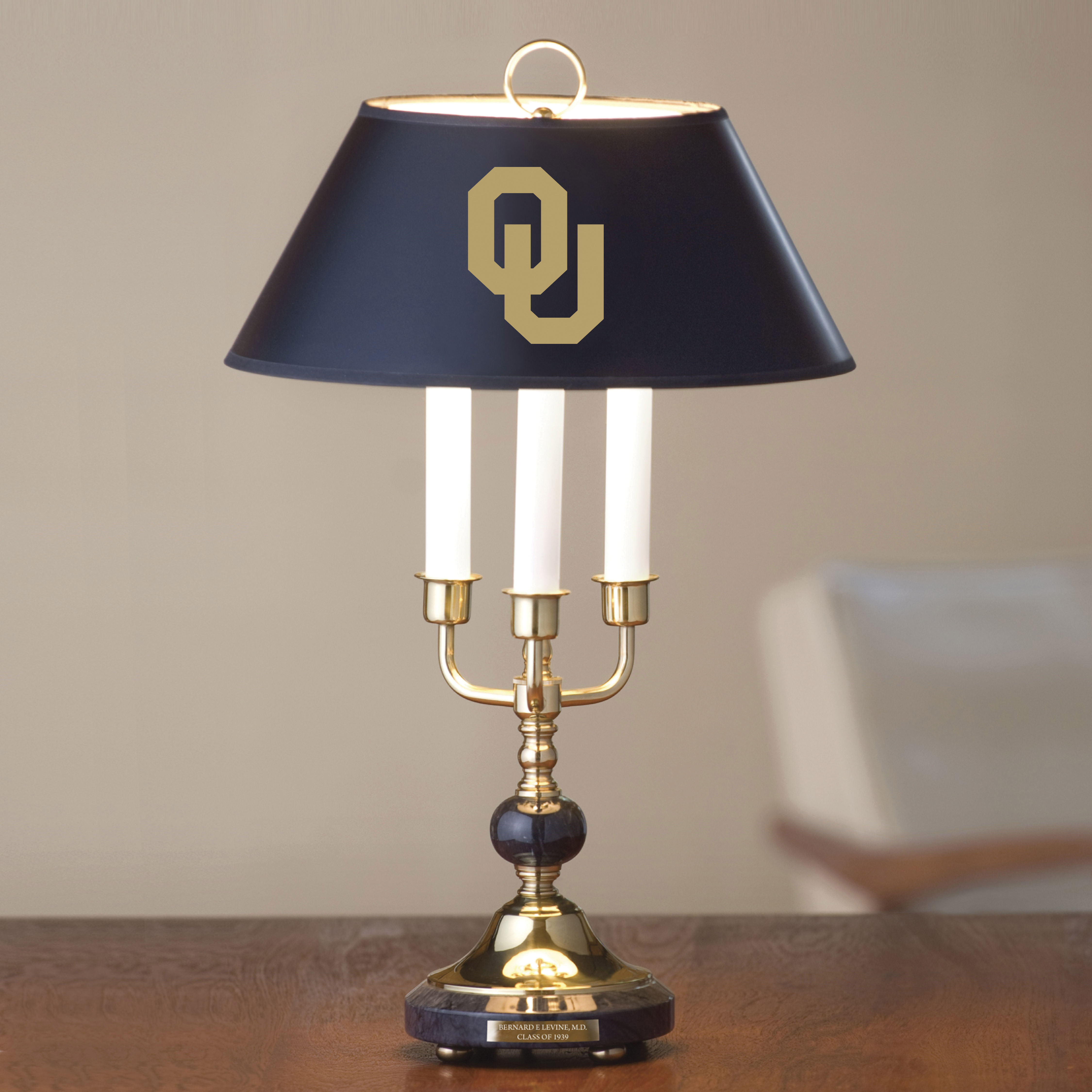 University of Oklahoma Lamp in Brass & Marble
