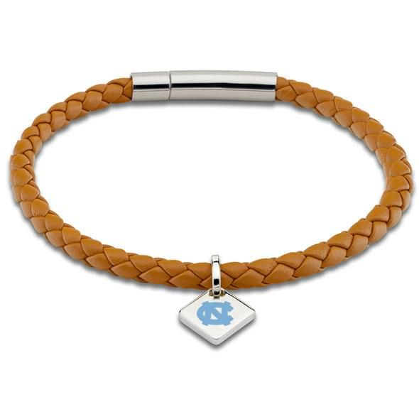 UNC Leather Bracelet with Sterling Silver Tag - Saddle