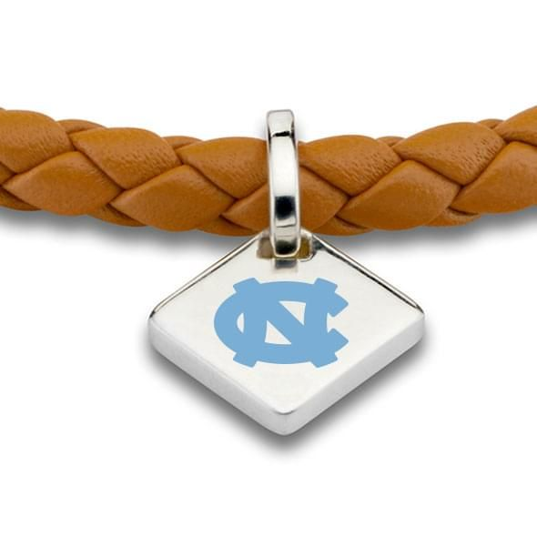 UNC Leather Bracelet with Sterling Silver Tag - Saddle - Image 2