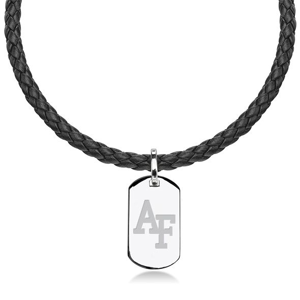 US Air Force Academy Leather Necklace with Sterling Dog Tag