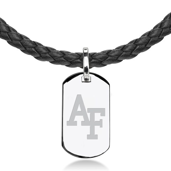 US Air Force Academy Leather Necklace with Sterling Dog Tag - Image 2