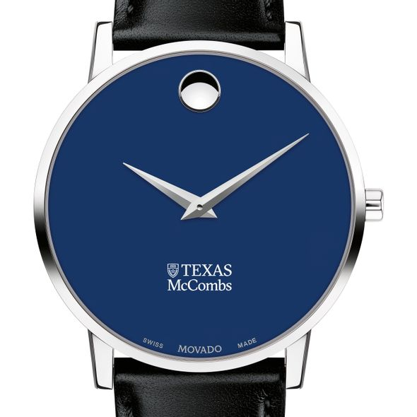 McCombs School of Business Men's Movado Museum with Blue Dial & Leather Strap - Image 1