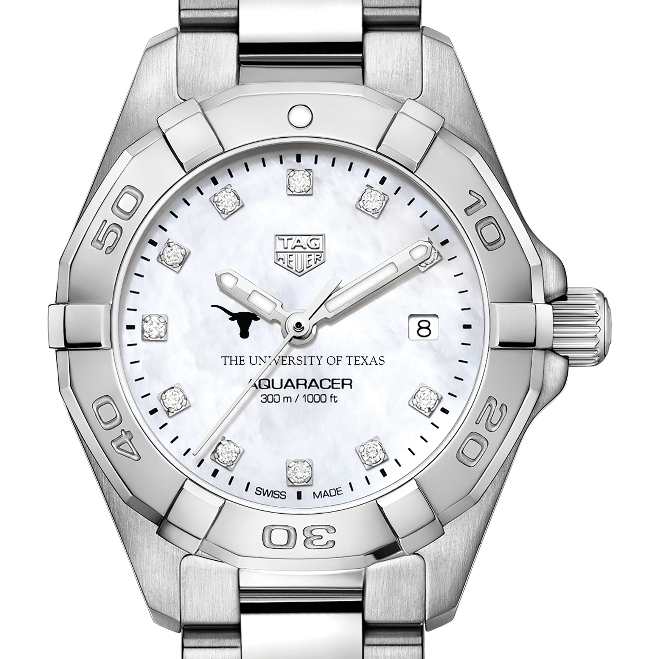 Texas Women's TAG Heuer Steel Aquaracer with MOP Diamond Dial